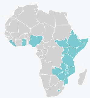 Map of countries where KIX works in Eastern, Southern and Western Africa.