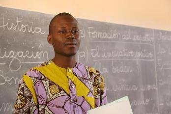 A Spanish teacher at Tchaourou School in Parakou, Benin. The school has 116 teachers and about 1500 students.